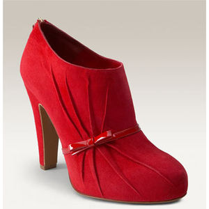 moschino red suede bootie