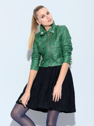 max azria cropped leather green