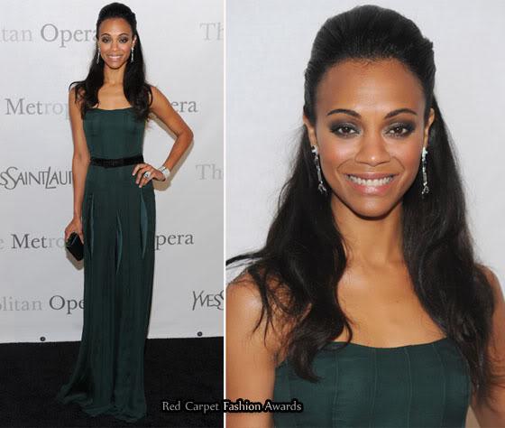 ZoeSaldana green red carpet dress