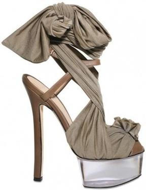 FENDI plexi lucite wrap sandal khaki