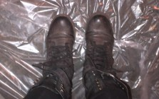 spray painted combat boots